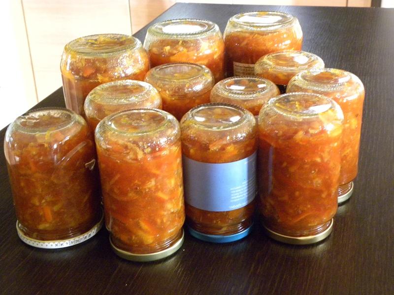 Jars of marmalade upside down image