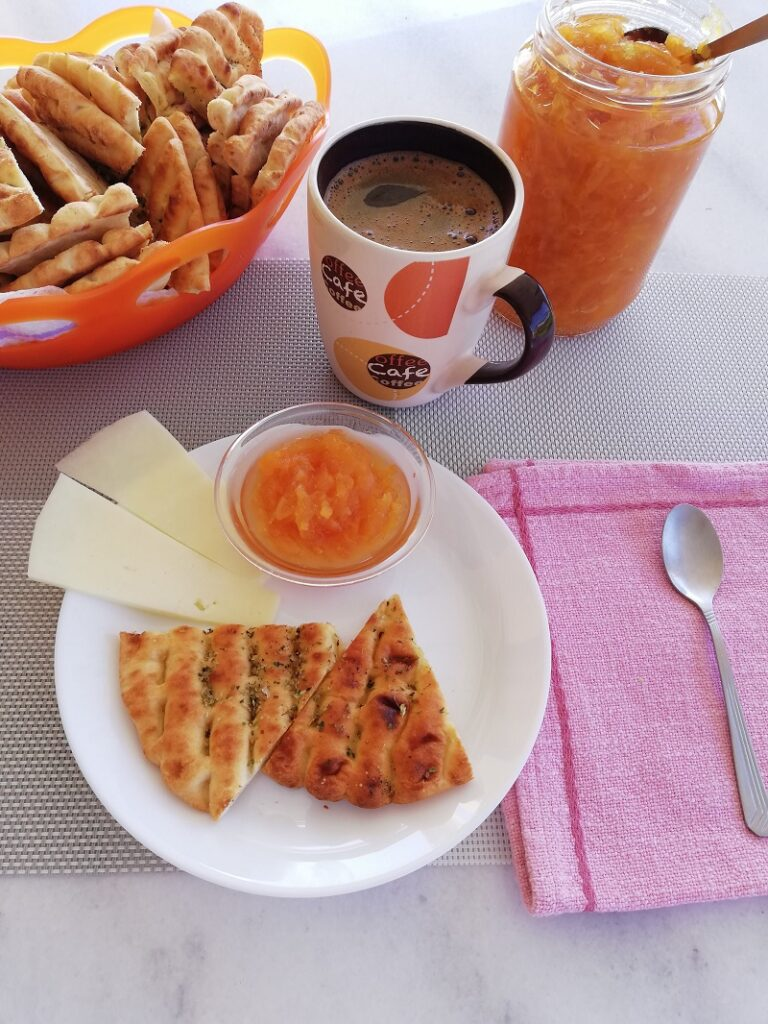 Mixed Citrus Marmalade with pita chips and Greek Coffee image
