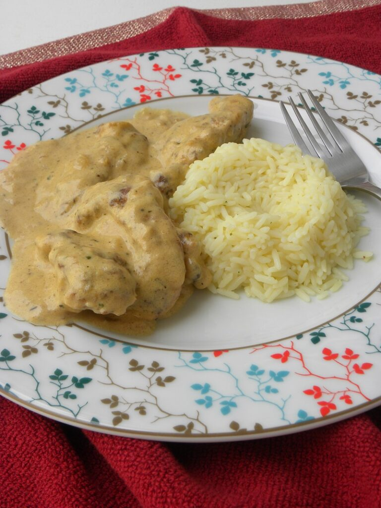 Chicken fricassee with rice pilaf image