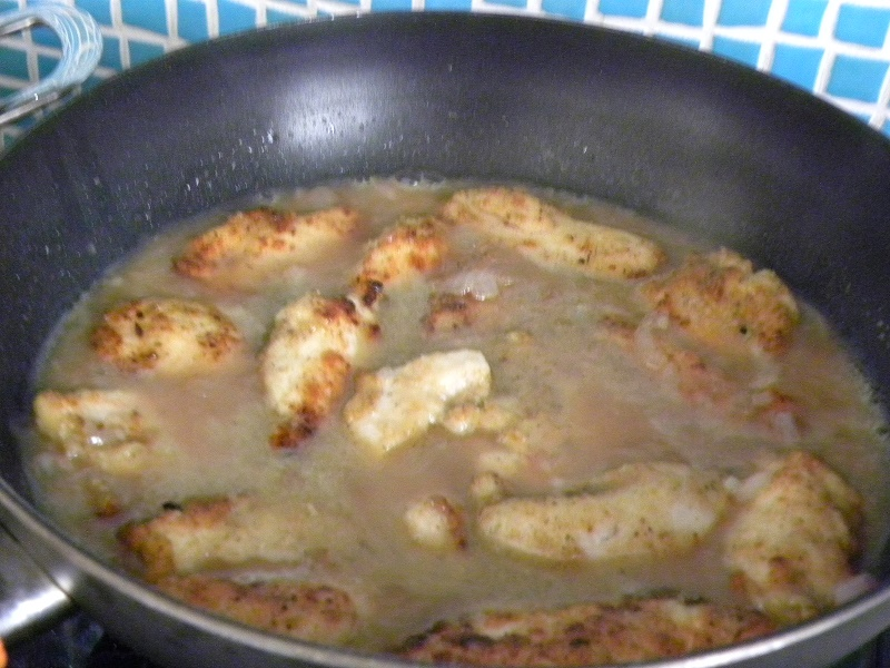 Putting chicken back in the frying pan image